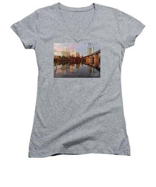 Austin Hike And Bike Trail - Train Trestle 1 Sunset Triptych Left Women's V-Neck T-Shirt