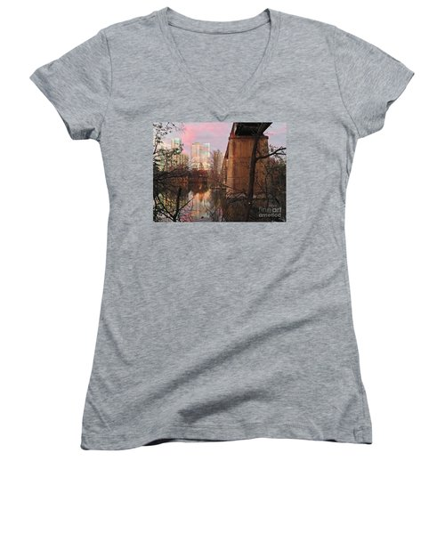 Austin Hike And Bike Trail - Train Trestle 1 Sunset Triptych Middle Women's V-Neck T-Shirt (Junior Cut) by Felipe Adan Lerma