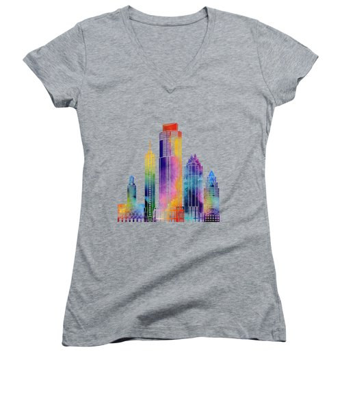 Austin Landmarks Watercolor Poster Women's V-Neck T-Shirt (Junior Cut) by Pablo Romero