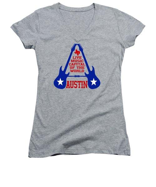 Austin Live Music Capital Of The World Women's V-Neck T-Shirt