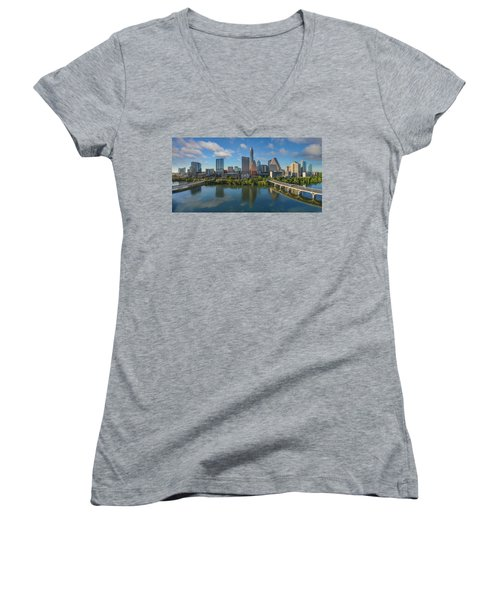 Austin Skyline Panorama Spring Afternoon 7-1 Women's V-Neck T-Shirt (Junior Cut) by Rob Greebon