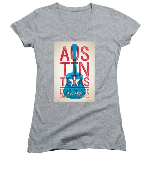 Austin Texas - Live Music Women's V-Neck T-Shirt (Junior Cut) by Jim Zahniser