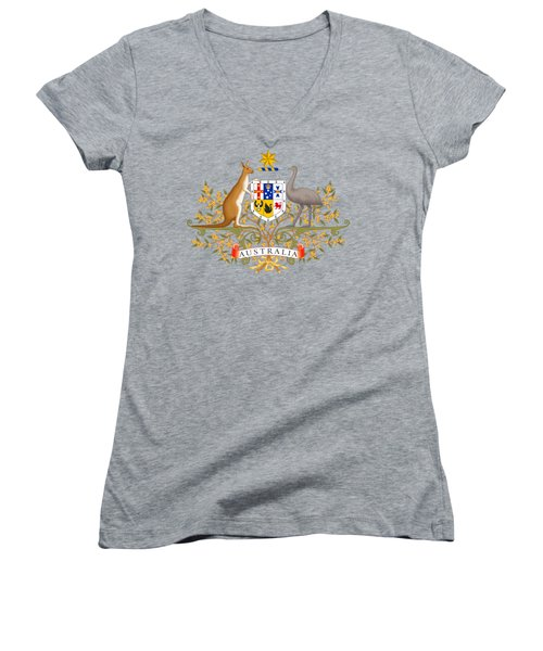 Women's V-Neck T-Shirt (Junior Cut) featuring the drawing Australia Coat Of Arms by Movie Poster Prints