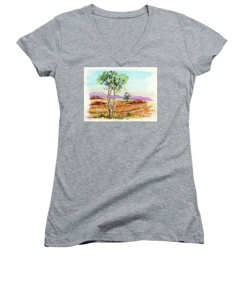 Women's V-Neck T-Shirt (Junior Cut) featuring the painting Australian Landscape Sketch by Margaret Stockdale