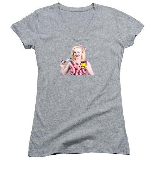 Australian Pinup Woman Holding Sandwich Spread Women's V-Neck T-Shirt (Junior Cut) by Jorgo Photography - Wall Art Gallery