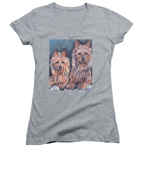 Women's V-Neck T-Shirt (Junior Cut) featuring the painting Australian Terriers by Lee Ann Shepard