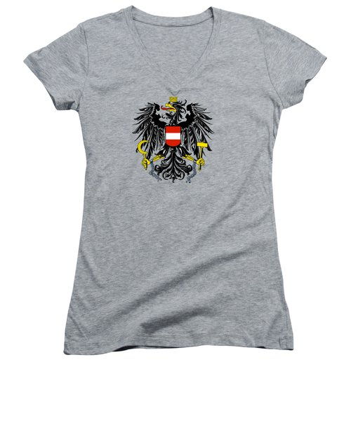 Women's V-Neck T-Shirt (Junior Cut) featuring the drawing Austria Coat Of Arms by Movie Poster Prints