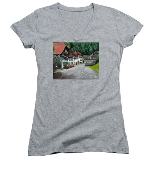 Women's V-Neck T-Shirt (Junior Cut) featuring the painting Austrian Village by John Black