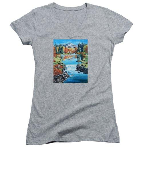 Autum Stag Women's V-Neck T-Shirt (Junior Cut) by Ruanna Sion Shadd a'Dann'l Yoder