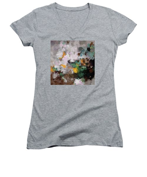Women's V-Neck T-Shirt (Junior Cut) featuring the painting Autumn Abstract Painting by Ayse Deniz