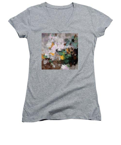 Autumn Abstract Painting Women's V-Neck T-Shirt (Junior Cut) by Ayse Deniz