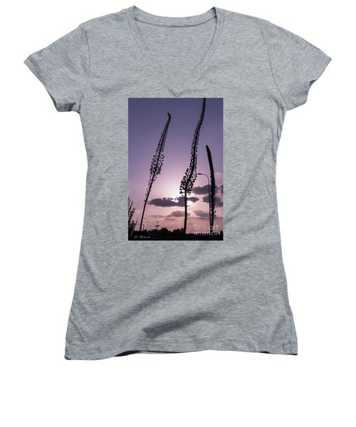 Women's V-Neck T-Shirt (Junior Cut) featuring the photograph Autumn Alarm by Arik Baltinester