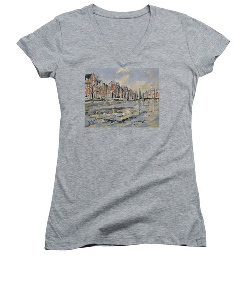 Autumn Along The Amstel In Amsterdam Women's V-Neck (Athletic Fit)