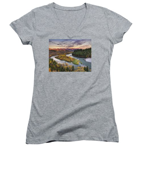 Autumn Along The Snake River Women's V-Neck (Athletic Fit)