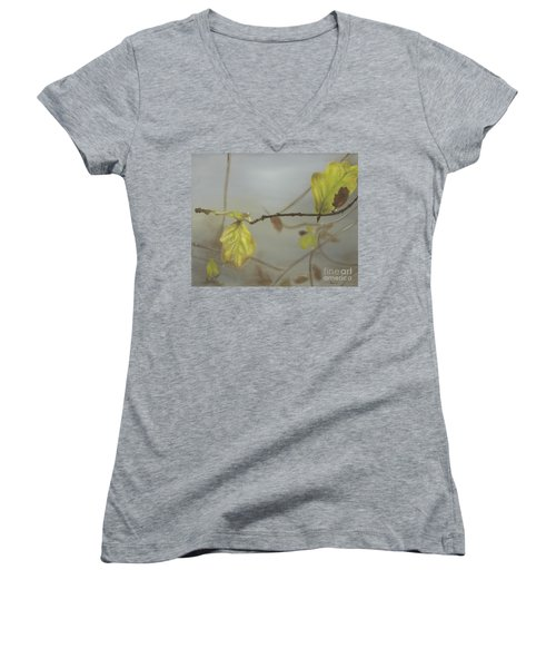 Women's V-Neck T-Shirt (Junior Cut) featuring the painting Autumn by Annemeet Hasidi- van der Leij