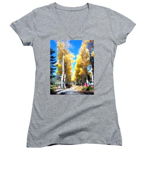 Autumn Aspens Women's V-Neck T-Shirt