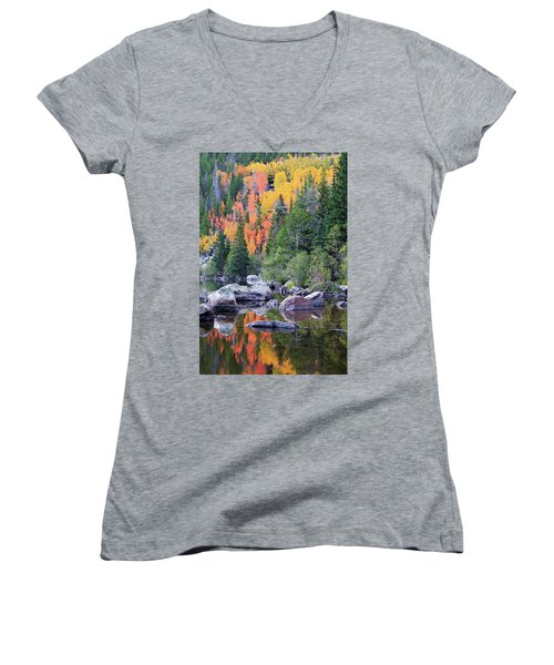 Women's V-Neck T-Shirt (Junior Cut) featuring the photograph Autumn At Bear Lake by David Chandler