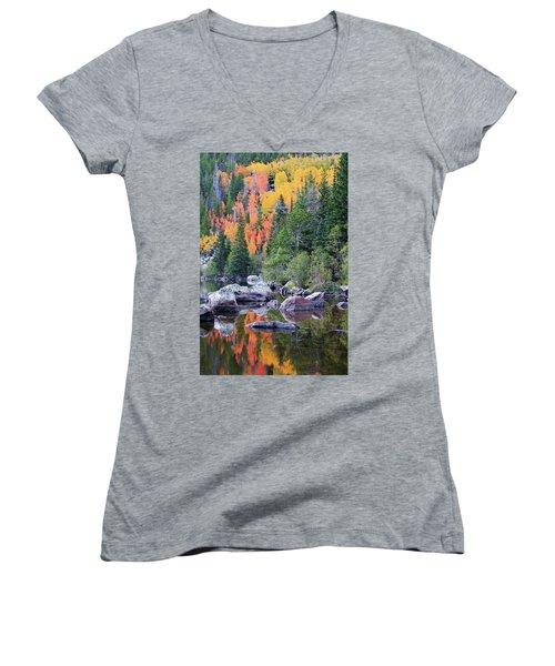 Autumn At Bear Lake Women's V-Neck T-Shirt