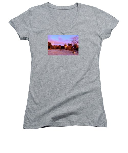 Autumn At East Point Lighthouse Women's V-Neck T-Shirt