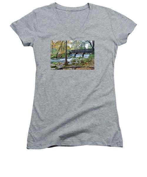 Women's V-Neck T-Shirt (Junior Cut) featuring the photograph Autumn At Maramec Spring by Cricket Hackmann