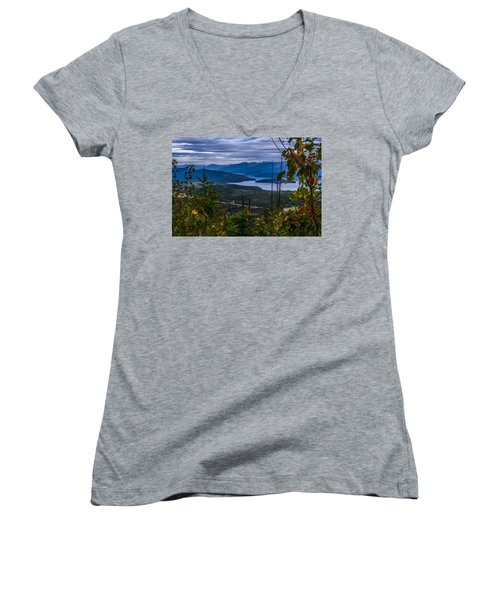 Autumn At Priest Lake Women's V-Neck T-Shirt (Junior Cut) by Yeates Photography