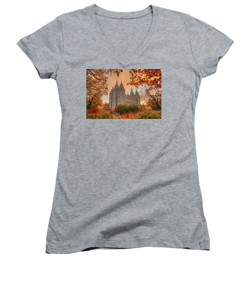 Autumn At Temple Square Women's V-Neck