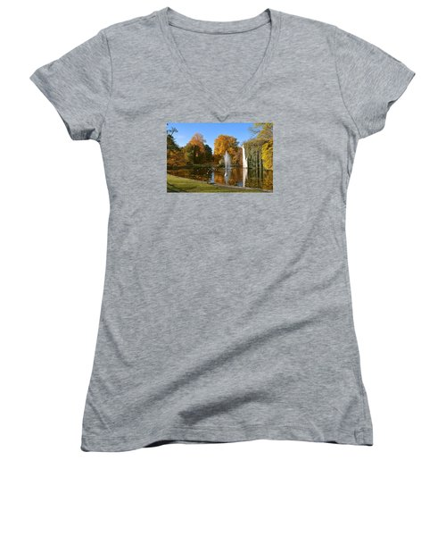 Women's V-Neck T-Shirt (Junior Cut) featuring the photograph Autumn At The City Park Pond Maastricht by Nop Briex