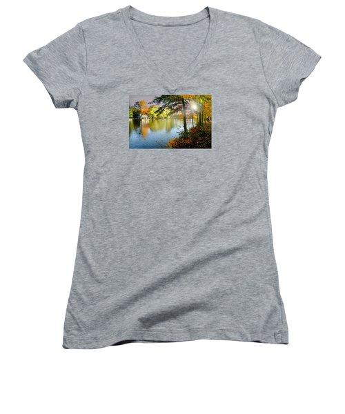 Autumn At Tilley Pond Women's V-Neck T-Shirt (Junior Cut) by Diana Angstadt