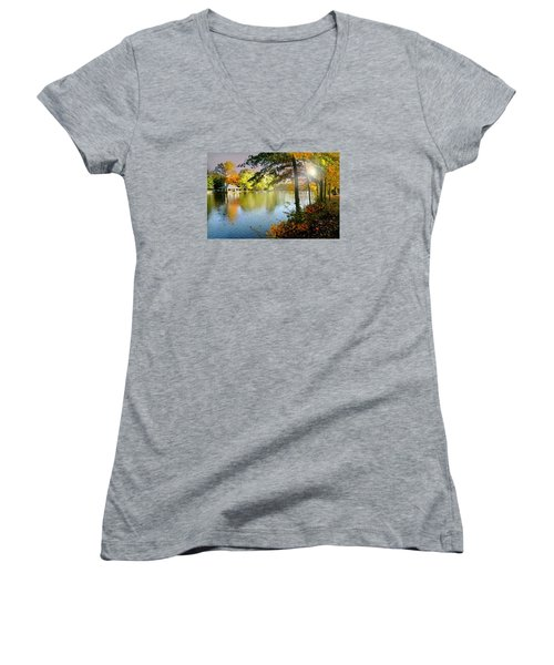 Autumn At Tilley Pond Women's V-Neck (Athletic Fit)
