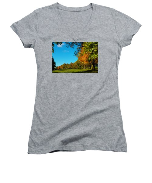 Autumn At World's End Women's V-Neck T-Shirt