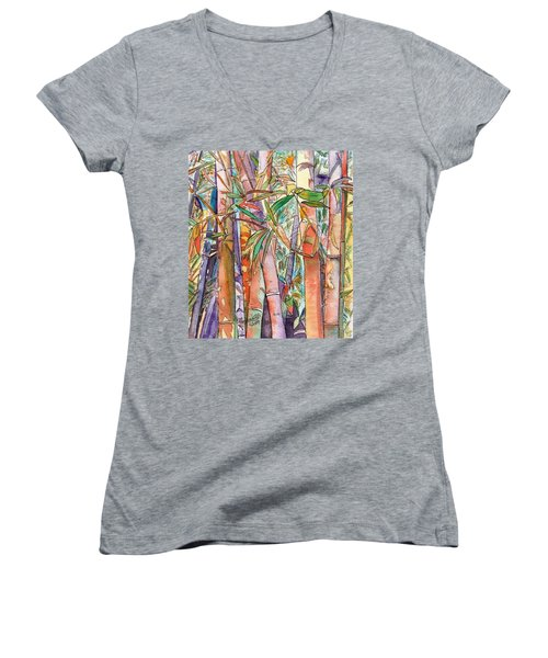 Autumn Bamboo Women's V-Neck T-Shirt (Junior Cut) by Marionette Taboniar