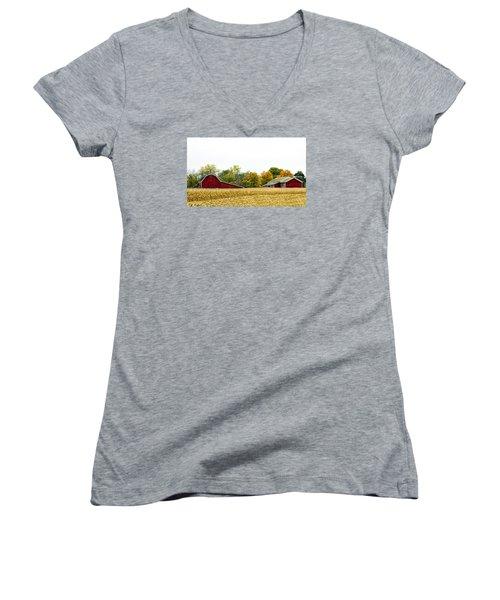 Autumn Barns Women's V-Neck T-Shirt (Junior Cut) by Pat Cook