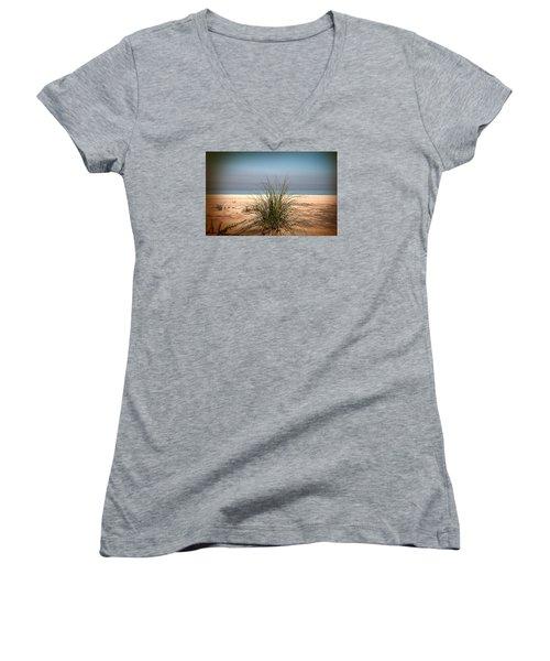 Autumn Beach Women's V-Neck T-Shirt (Junior Cut) by Milena Ilieva
