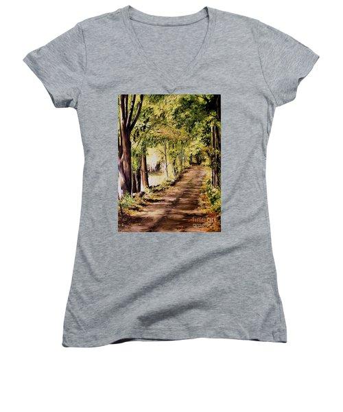 Autumn Begins In Underhill Women's V-Neck T-Shirt (Junior Cut) by Laurie Rohner