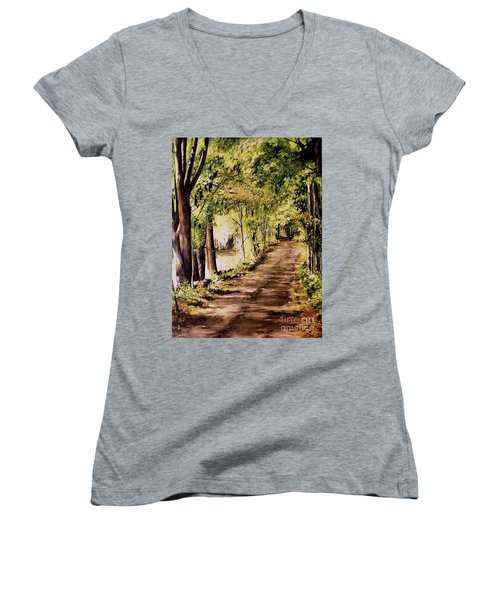Autumn Begins In Underhill Women's V-Neck T-Shirt