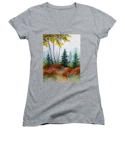 Autumn Birch Women's V-Neck T-Shirt (Junior Cut) by Carolyn Rosenberger