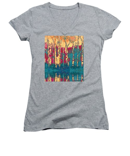 Autumn Birches Women's V-Neck T-Shirt (Junior Cut) by Holly Martinson