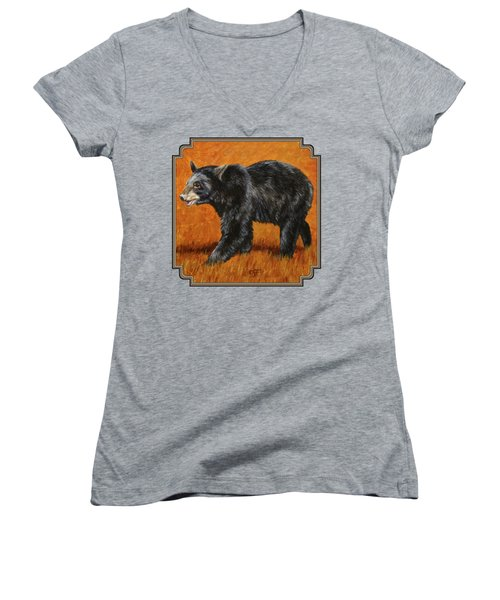 Autumn Black Bear Women's V-Neck T-Shirt (Junior Cut) by Crista Forest