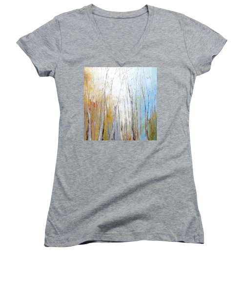 Autumn Bliss Women's V-Neck T-Shirt (Junior Cut) by Dina Dargo