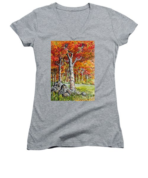 Women's V-Neck T-Shirt (Junior Cut) featuring the painting Autumn Bloom by Terry Banderas