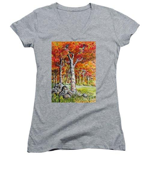 Autumn Bloom Women's V-Neck (Athletic Fit)
