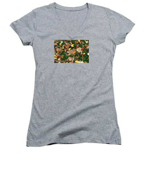 Autumn Carpet 002 Women's V-Neck T-Shirt (Junior Cut) by Dorin Adrian Berbier