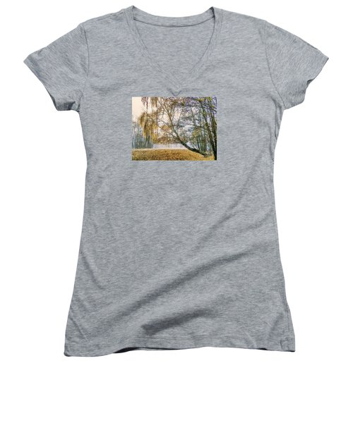 Autumn Colorful Birch Trees Paint Women's V-Neck T-Shirt (Junior Cut) by Odon Czintos
