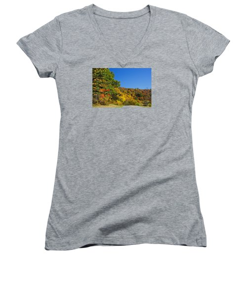 Autumn Country Roads Blue Ridge Parkway Women's V-Neck (Athletic Fit)