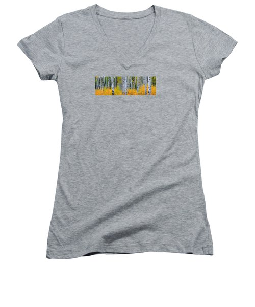 Women's V-Neck T-Shirt (Junior Cut) featuring the photograph Autumn Dance by Kadek Susanto