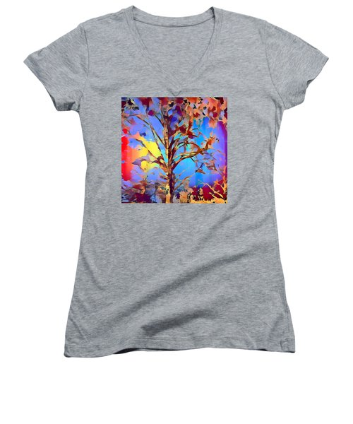 Autumn Day Women's V-Neck (Athletic Fit)