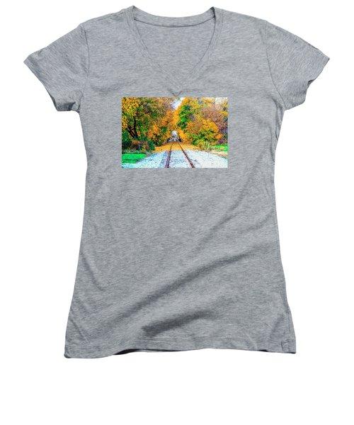 Autumn Days Women's V-Neck T-Shirt (Junior Cut) by Jim Lepard