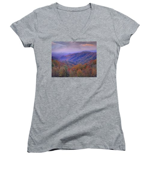 Autumn Deciduous Forest Great Smoky Women's V-Neck