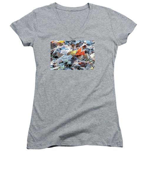 Women's V-Neck T-Shirt featuring the photograph Autumn Ends, Winter Begins 3 by Linda Lees