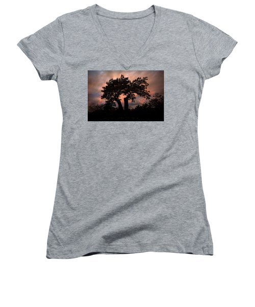 Women's V-Neck T-Shirt featuring the photograph Autumn Evening Sunset Silhouette by Chris Lord
